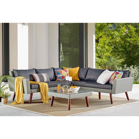 2pc All Weather Wicker Albany Outdoor Corner Sectional Sofa With Coffee Table Brown Alaterre Furniture