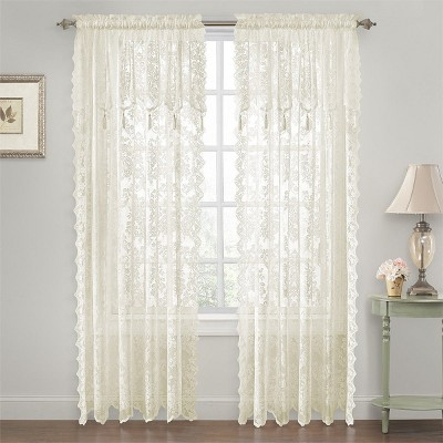 GoodGram Shabby Chic Lace Curtain Panels With Attached Valance