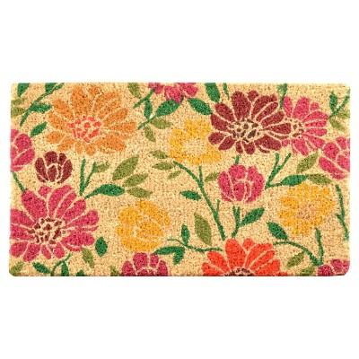 HomeTrax Coir Mat Doormat - Spring Daisies (18  x 30 )