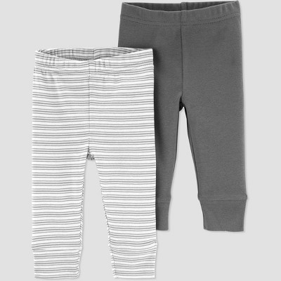 Baby Boys' 2pk Striped Pull-On Pants - Just One You® made by carter's Gray/White 3M