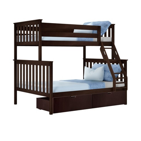 Max Lily Twin Over Full Bunk Bed With Under Bed Storage Drawers Espresso Target