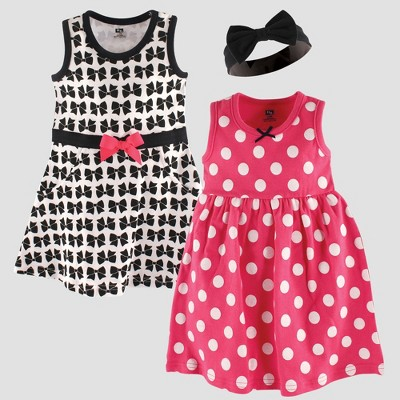 Hudson Baby Girls' Dress & Headband Set, Bows - Pink 3-6M