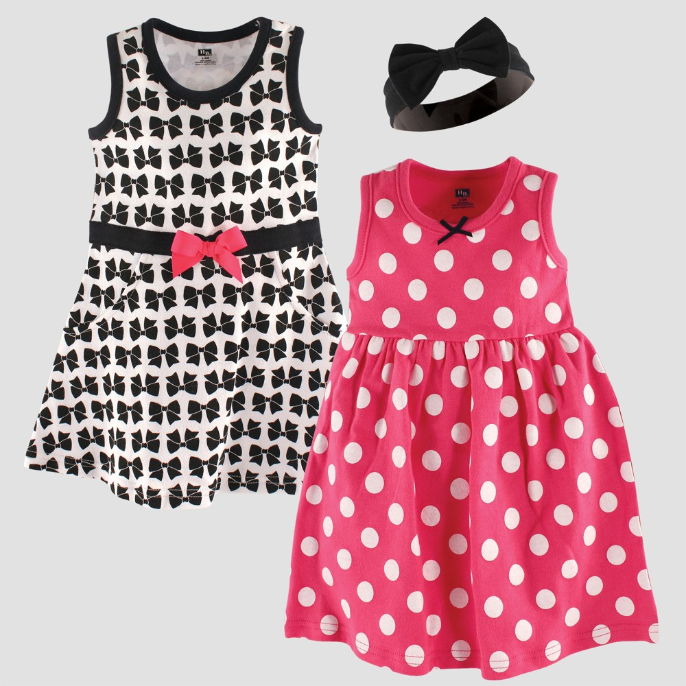 Hudson Baby Girls' Dress & Headband Set, Bows - Pink 6-9M