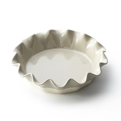 Lakeside Stoneware Pie Plate with Ruffled Edge - Baking Dish for Pastries, Brunch, Dinner