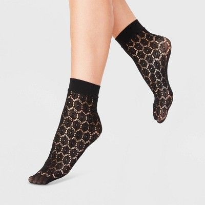 Women's Daisy Net Anklet Socks - A New Day™ Black 4-10