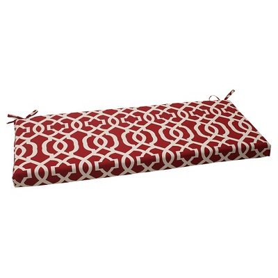 Outdoor Bench Cushion - Red/White Geometric