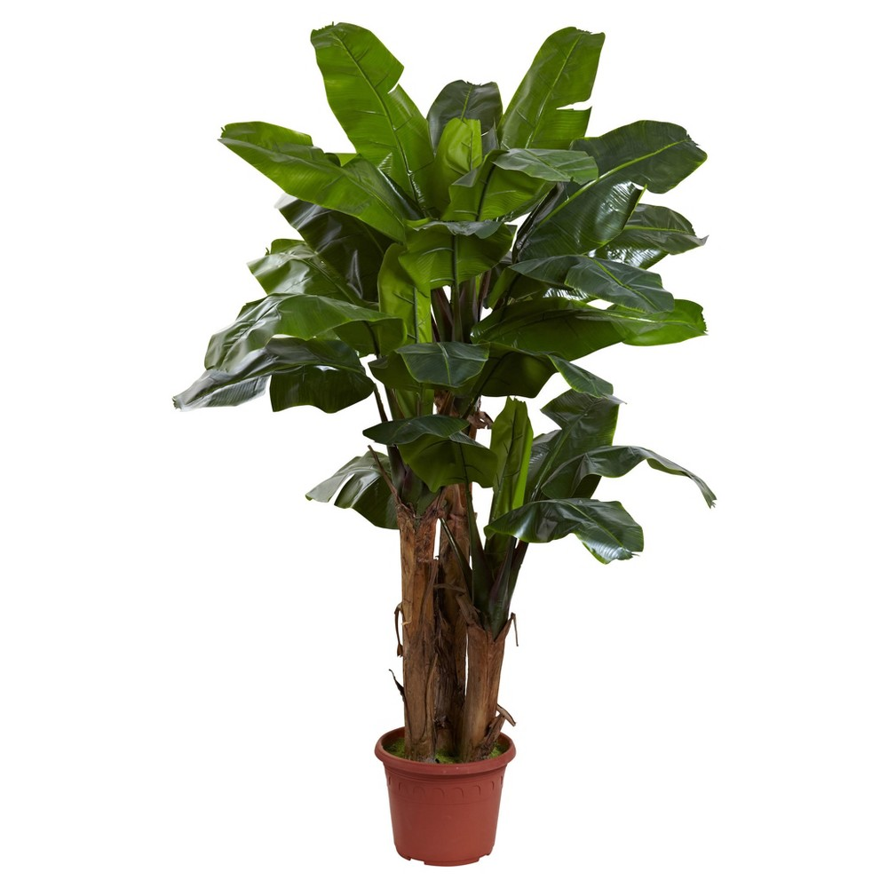 Artificial 7ft Giant Triple Stalk Banana Tree UV Resistant Indoor/Outdoor - Nearly Natural, Green