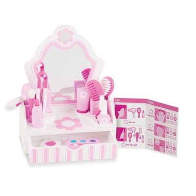 Melissa & Doug Wooden Beauty Salon Play Set With Vanity and Accessories (18pc)