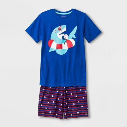 Boys' Shark Print Pajama Set - Cat & Jack™ Blue Streak - image 1 of 1