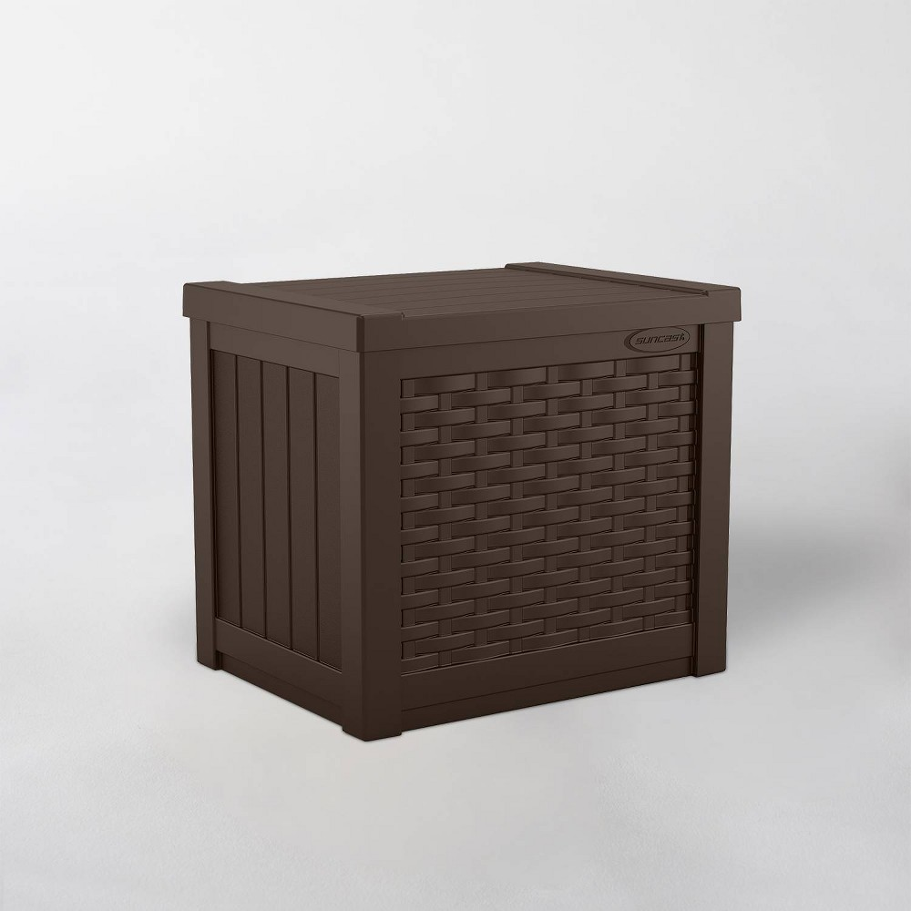 Image of 22gal Resin Java Wicker Front Deck Box Brown - Suncast