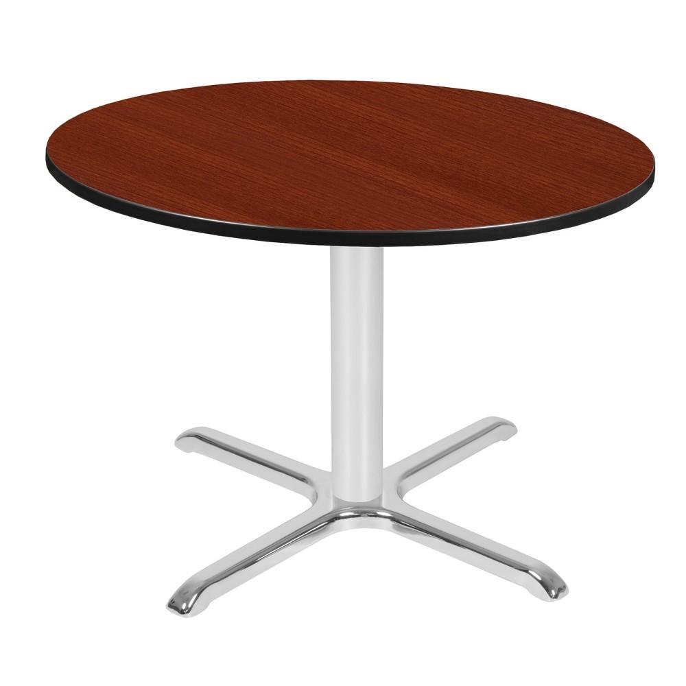 42 Via Round X - Base Table Cherry/Chrome (Red/Grey) - Regency