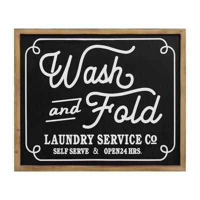 Wash and Fold Laundry Sign Wall Decor Black - Stratton Home Decor