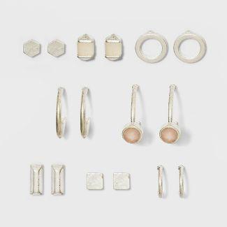 Semi Precious Rose Quartz & Lilac 8pk Earring Set - Universal Thread™ Silver