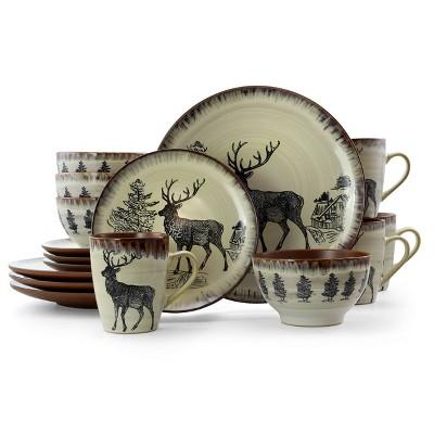 16pc Stoneware Forest Cabin Dinnerware Set Brown - Elama
