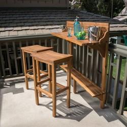 Caribbean 3pc Acacia Wood Patio Bar Set - Natural - Christopher Knight Home