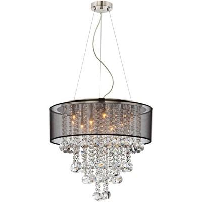 "Possini Euro Design Brushed Nickel Chandelier 22"" Wide Modern Clear Glass Crystal Black Sheer Shade 12-Light Fixture Dining Room"