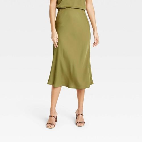 Women S High Rise Midi Slip A Line Skirt A New Day Olive XXL