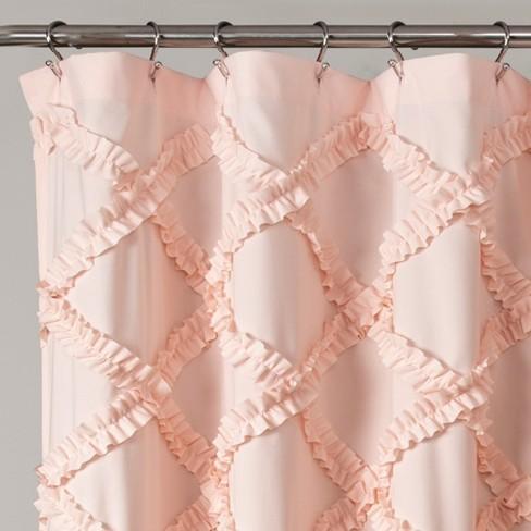 Ruffle Diamond Shower Curtain Blush Pink