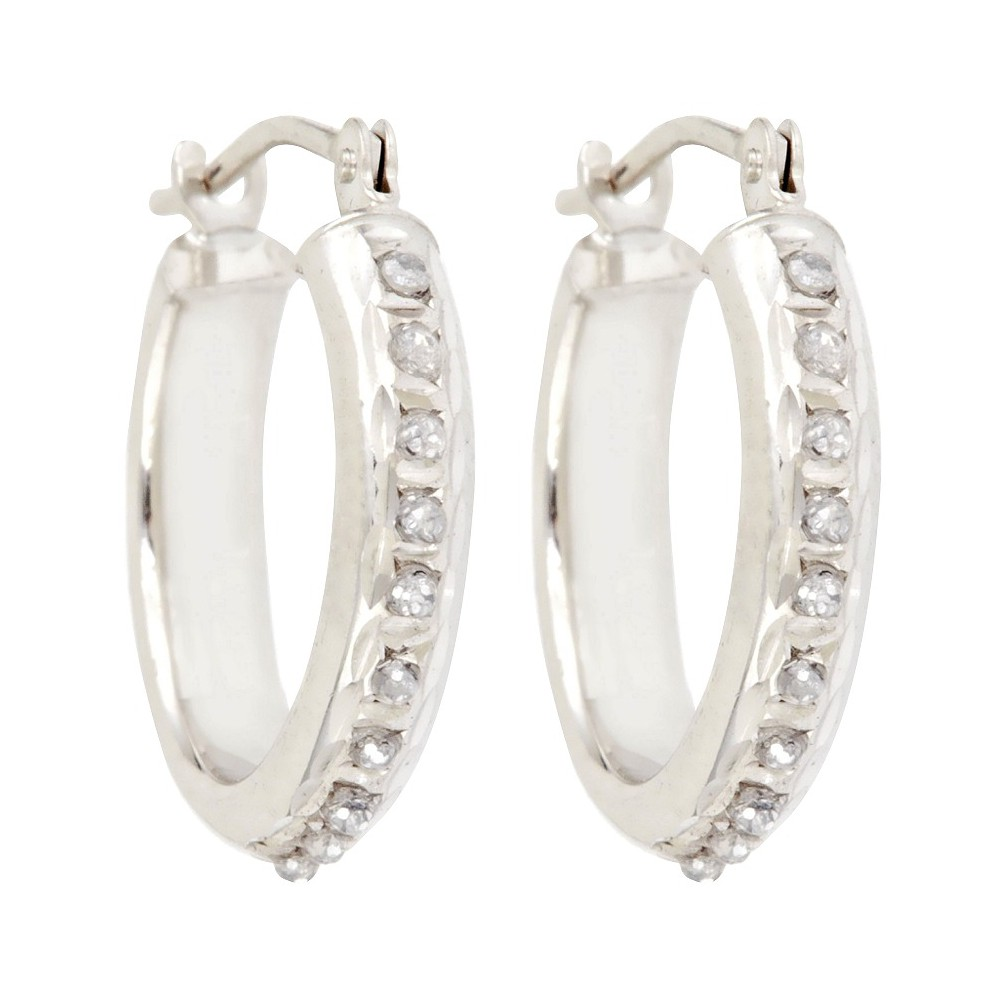 Round Sterling Silver Earrings with Diamond Pave Accents - White