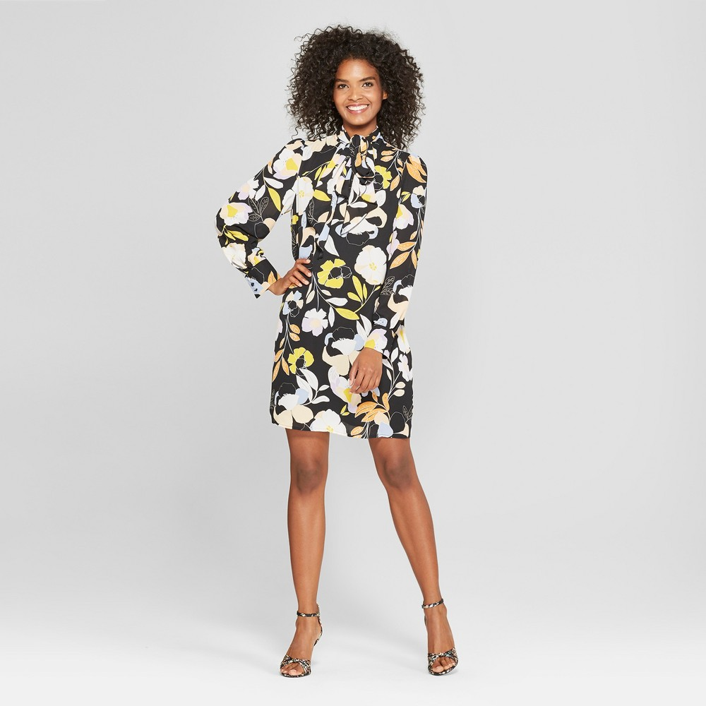 Women's Floral Print Long Sleeve Tie Neck Mini Dress - Who What Wear Black L, Black Floral