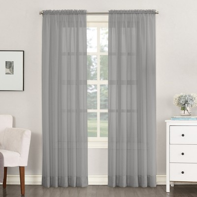 Emily Sheer Voile Rod Pocket Curtain Panel Charcoal 59 x63  - No. 918