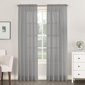 "Emily Sheer Voile Rod Pocket Curtain Panel Charcoal 59""x108"" - No. 918"