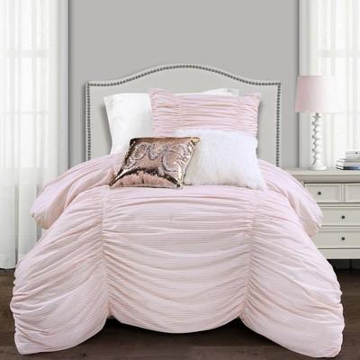 Lush Décor Ruching Ticking Stripe Comforter & Sham Set