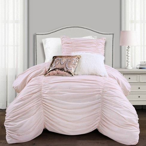 Ruching Ticking Stripe Comforter