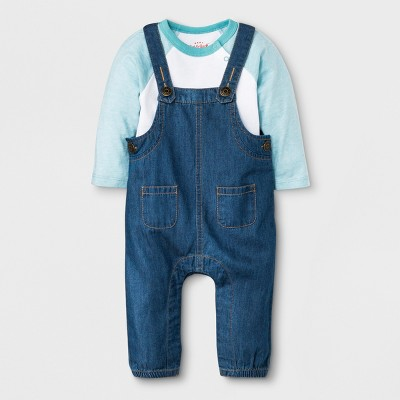 Baby Boys' 2pc Long Sleeve Bodysuit and Denim Overalls Set - Cat & Jack™ Blue/White 18M