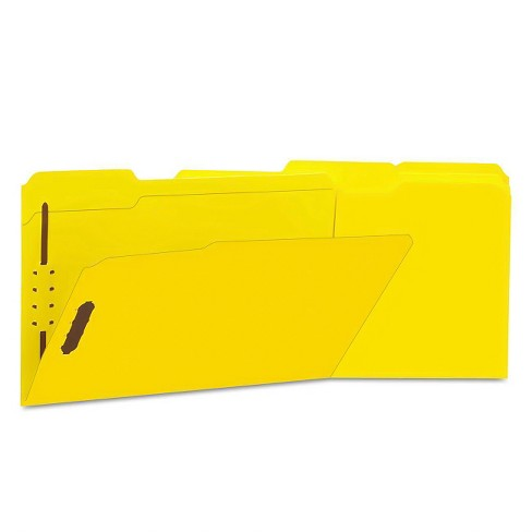 Universal One Paper Folder 2 Fasteners 1/3 Tab Legal 50ct - Yellow - image 1 of 1