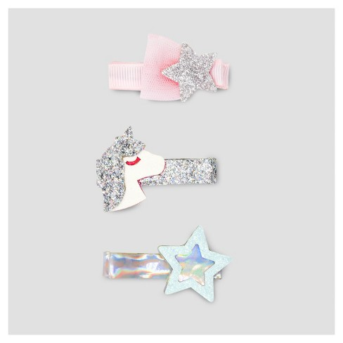 Girls' 3pk Magical Clips and Barrettes - Cat & Jack™ Silver/Pink One Size - image 1 of 1