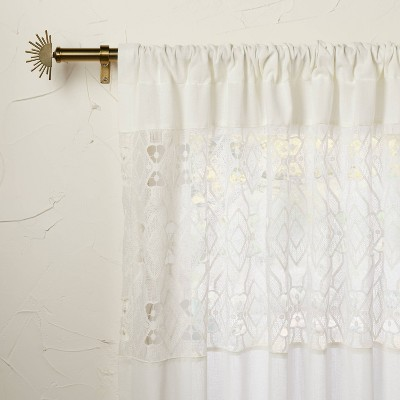Banded Geo Macrame Sheer Curtain Panel White - Opalhouse™ designed with Jungalow™