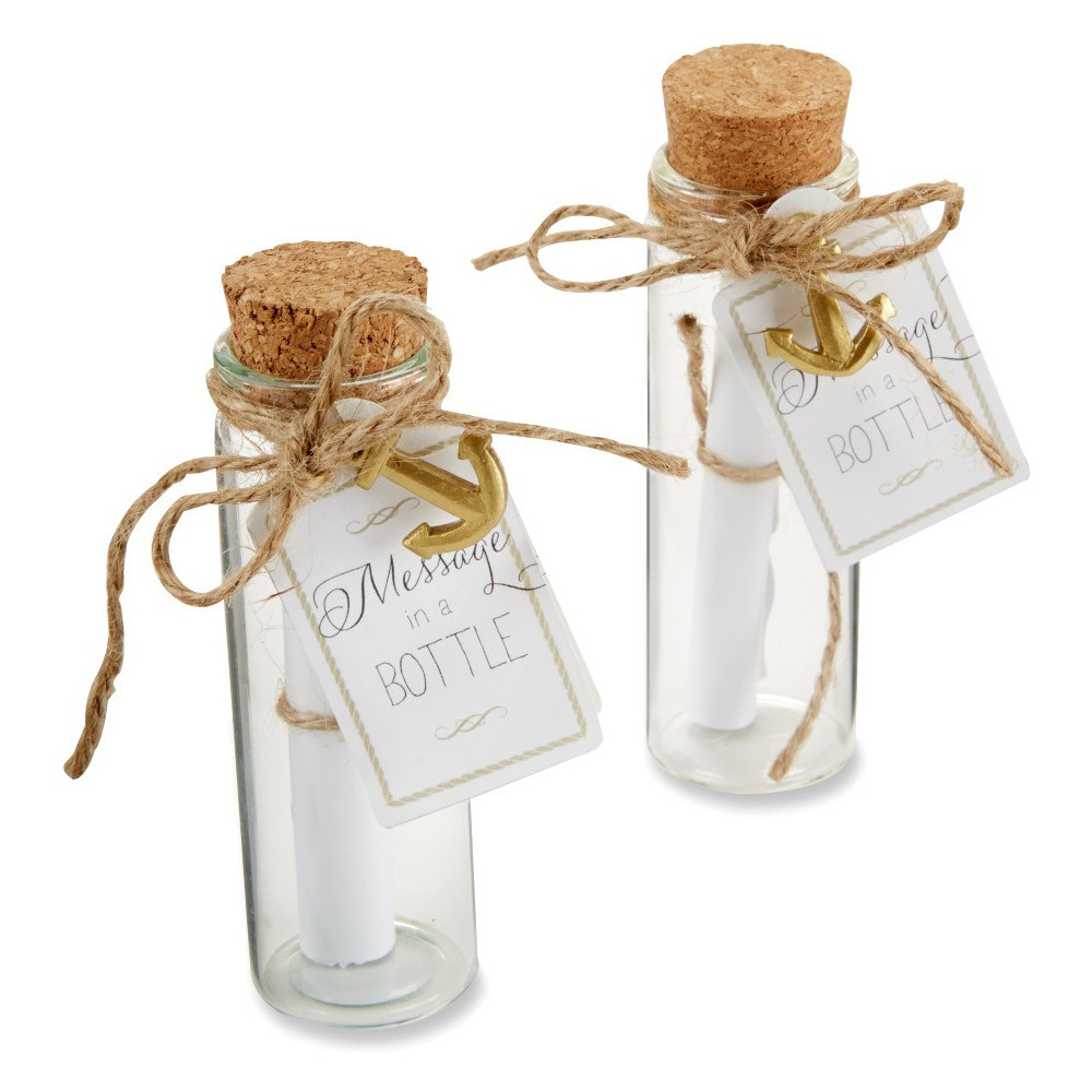 Image of 12ct Message in a Bottle Glass Favor, Clear