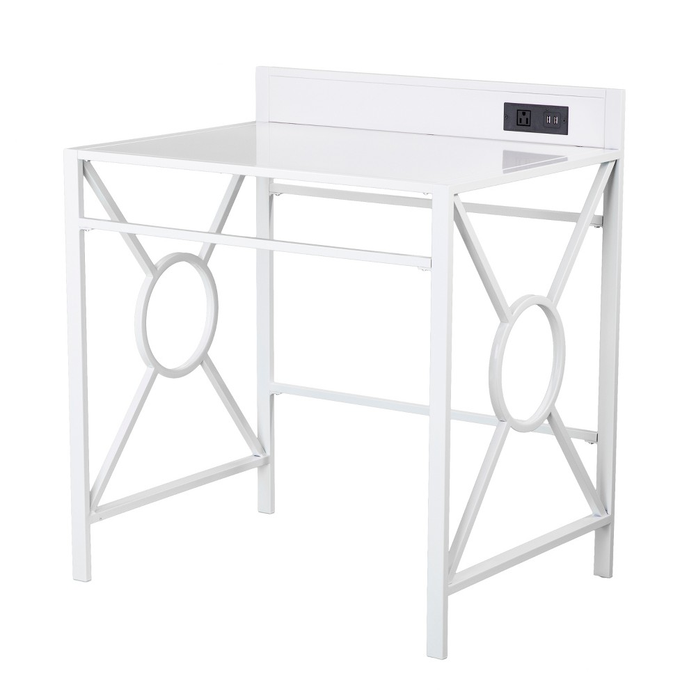 Aiden Lane Dullahan Desk With Usb White, Gray