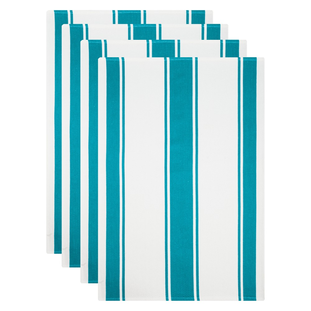 Kitchen Towel White/Aqua (Blue) Set of 4 - Mu Kitchen Cook up a storm without wreaking havoc to your kitchen with this Set of 4 White/Aqua Kitchen Towels from Mu Kitchen. The soft, absorbent cotton towels with a striped pattern perfectly combines fashion and functionality to make your time in the kitchen a wee bit easier. The vibrant striped pattern adds chic contemporary style to your kitchen space. Put on your chef's hat for the next potluck or cooking marathon, and let this all-around kitchen helper take care of the rest. Pattern: Multi Stripe.