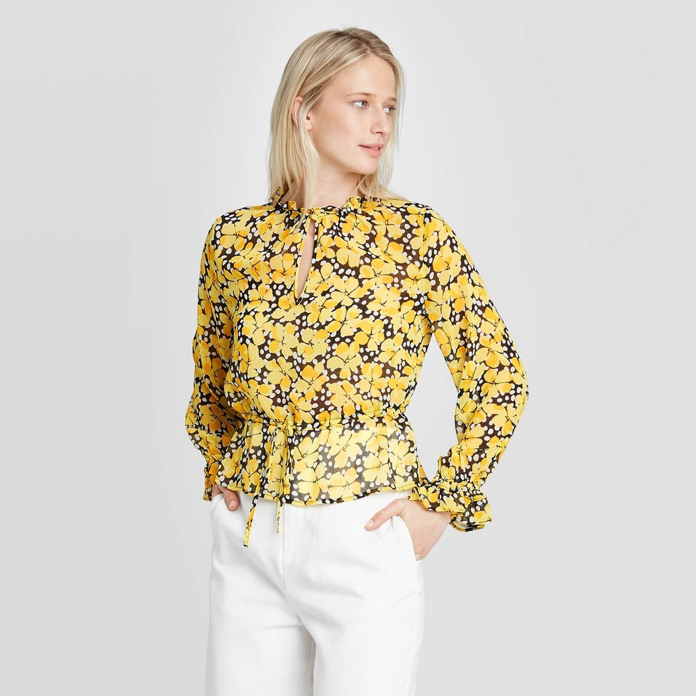 Women's Floral Print Long Sleeve Ruffle Detail Drawstring Blouse - Who What Wear Black M was $29.99 now $20.99 (30.0% off)