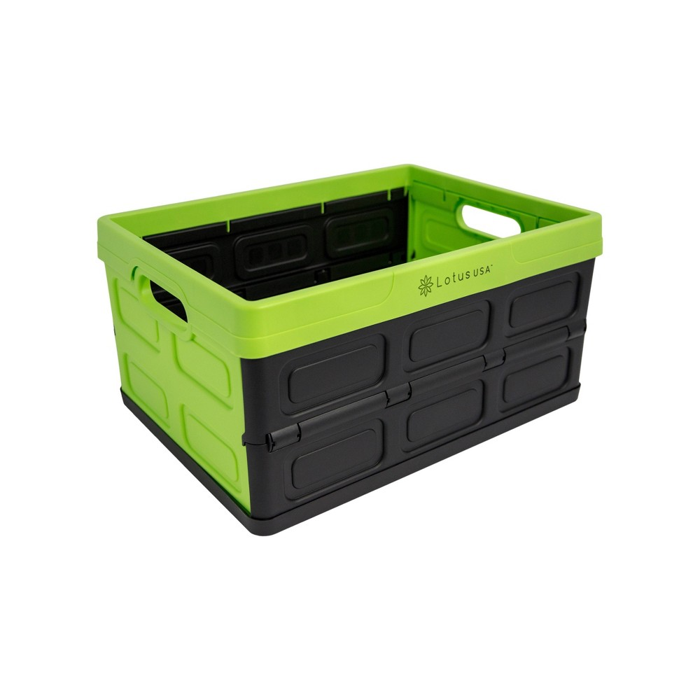 Image of 33qt Foldable Perforated Storage Crate Green/Black - Lotus USA