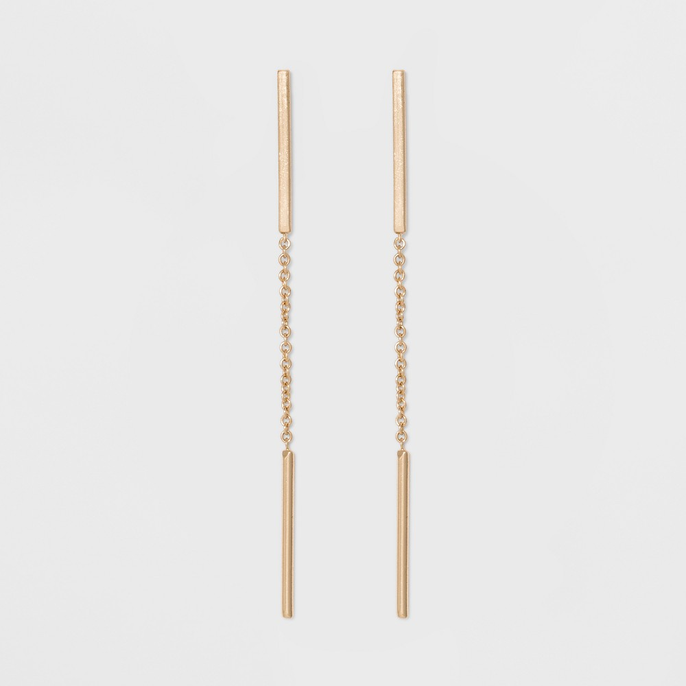 Long Linear Bar & Chain Earrings - A New Day Gold