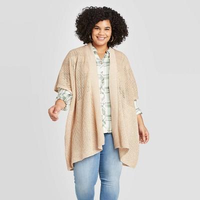 Women's Lightweight Knit Kimono- Universal Thread™ Tan One Size