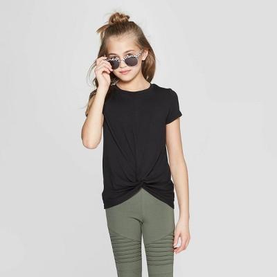 Girls' Short Sleeve Twist Front T Shirt   Art Class™ by Art Class
