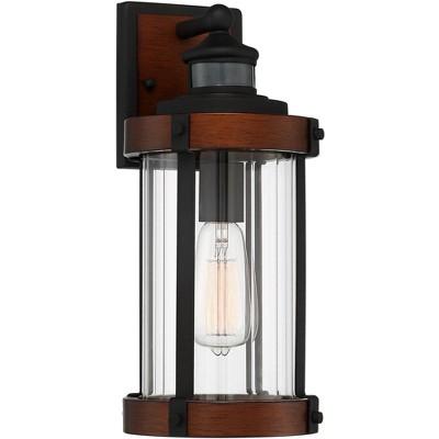 "John Timberland Industrial Outdoor Wall Light Fixture Dark Wood Black 15 1/2"" Motion Sensor Clear Glass for Exterior House Porch"