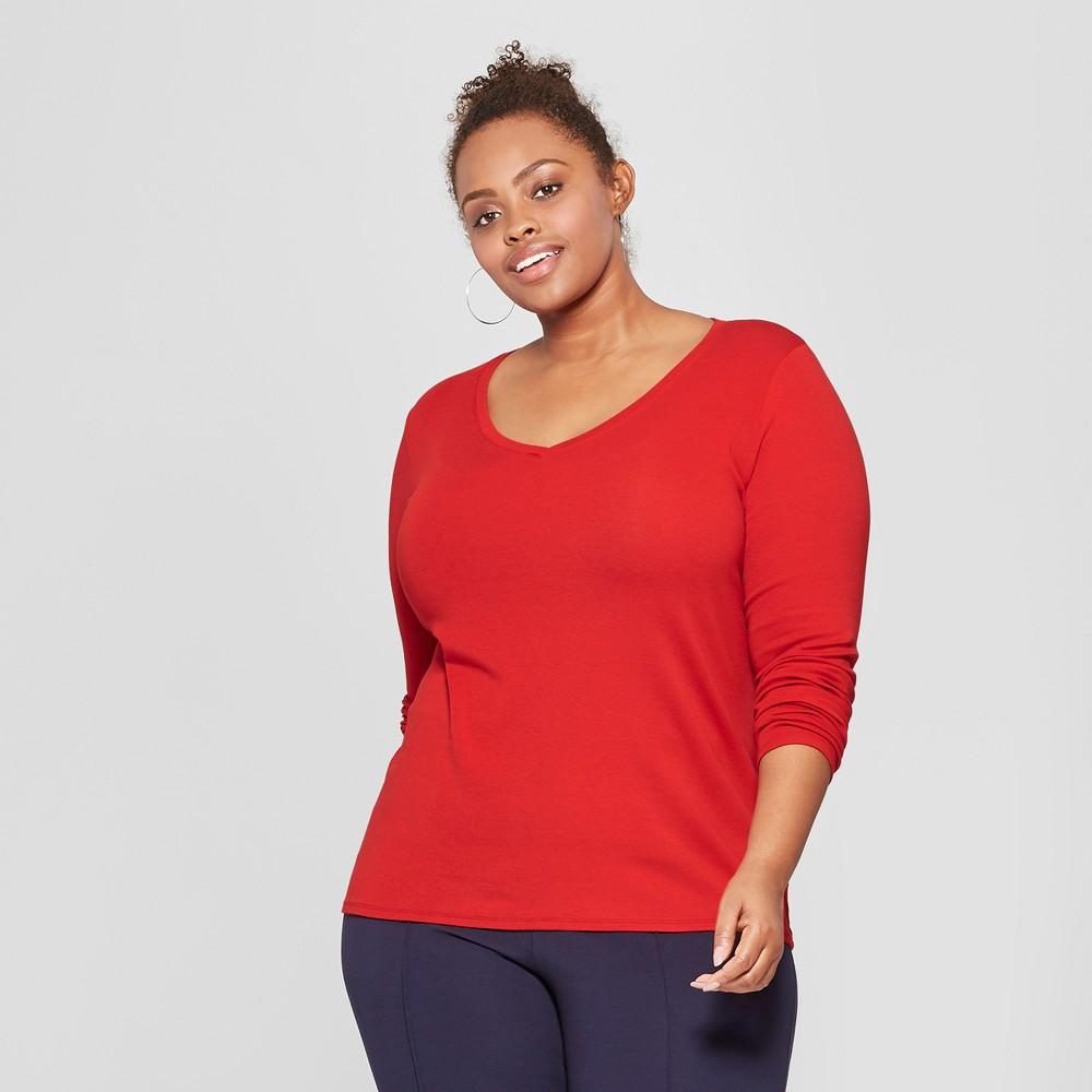 Women's Plus Size Long Sleeve V-Neck T-Shirt - Ava & Viv Red 1X