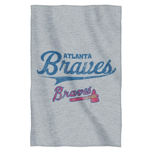 "MLB Atlanta Braves Sweatshirt Throw - Gray (84"" L x 54"" W) - image 1 of 1"