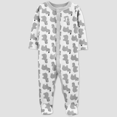 Baby  Hippo Print  Sleep 'N Play One Piece Pajama - Just One You® made by carter's White/Gray 3M
