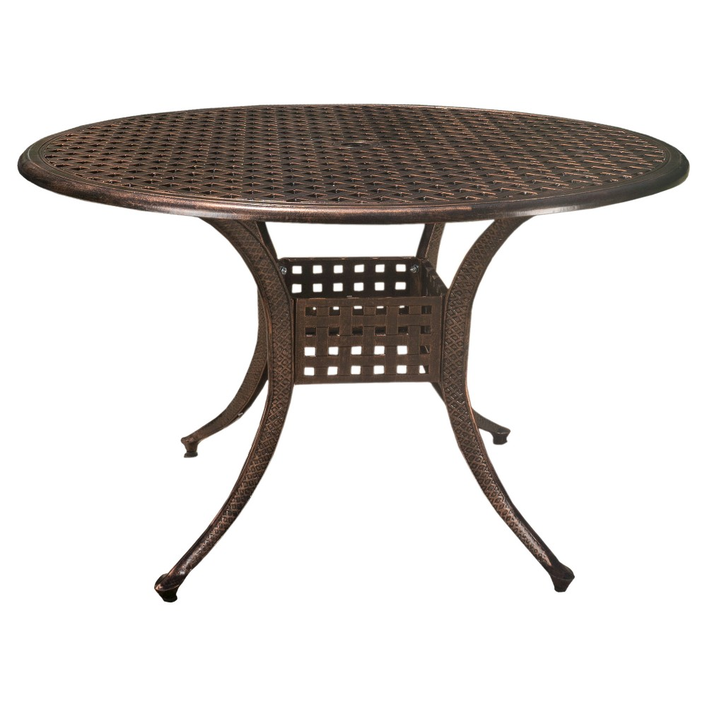 Tahoe Circular Cast Aluminum Table - Shiny Copper (Brown) - Christopher Knight Home