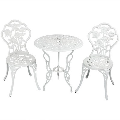 Sunnydaze Flower Design Cast Aluminum Bistro Set with Cast Iron Legs, White, 3pc