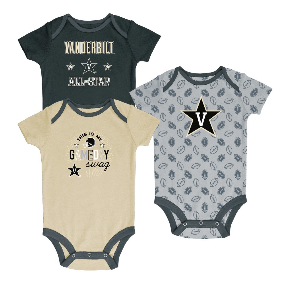 Vanderbilt Commodores Baby Boys' 3pk Short Sleeve Bodysuits 0-3M, Multicolored