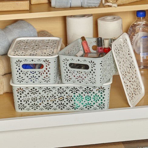 Lakeside Set of 3 Stackable Lace-Design Bins with Lids - - image 1 of 2