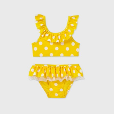 Toddler Girls' 2pc Polka Dot Ruffle Bikini - Cat & Jack™ Yellow 12M
