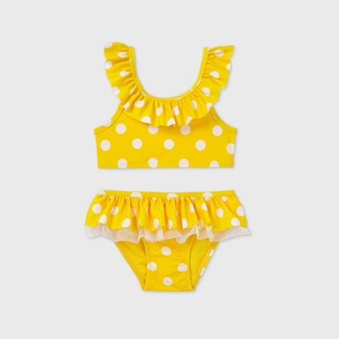 Toddler Girls' 2pc Polka Dot Ruffle Bikini - Cat & Jack™ Yellow - image 1 of 2